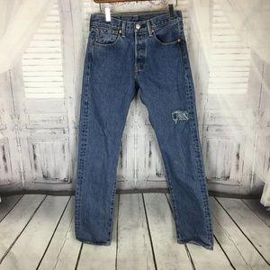 Levi's 501 Button Fly Blue Denim Jeans 28W x 32L